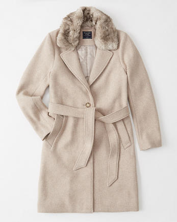 ANFFaux Fur Collar Dad Coat