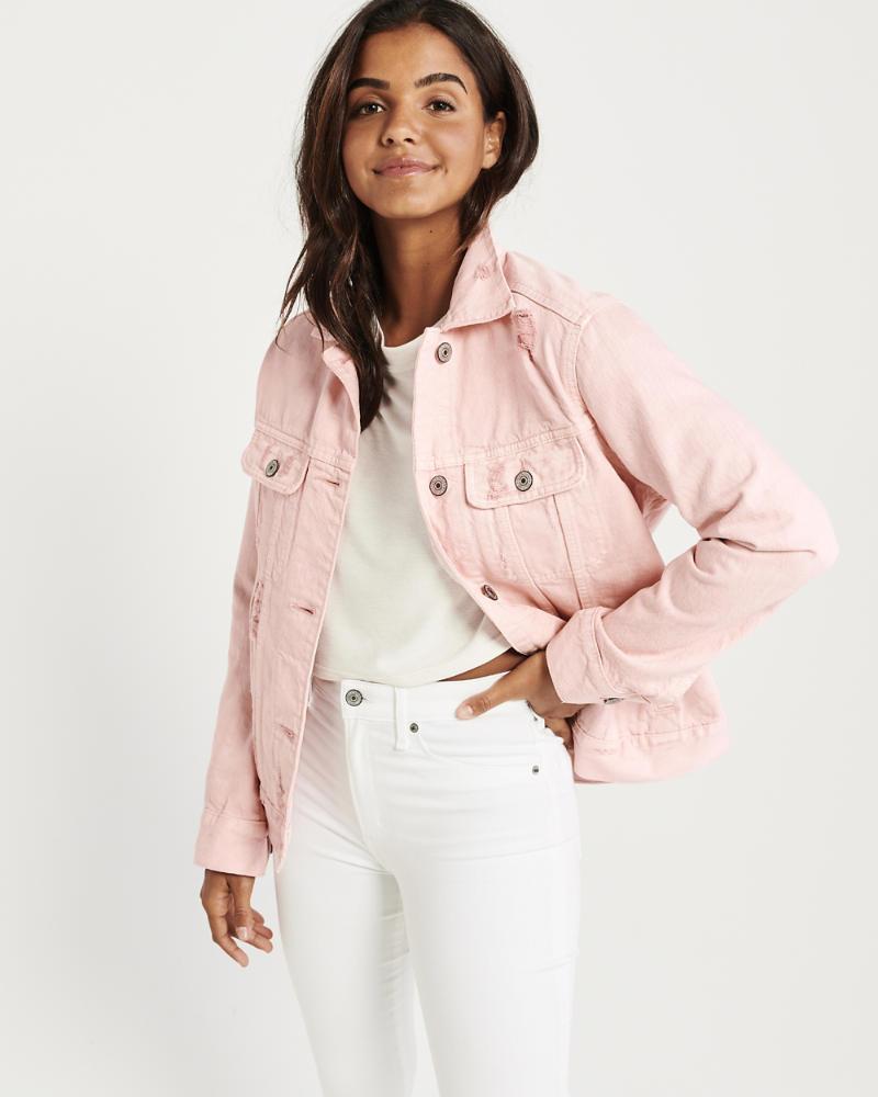 Light Pink Girlfriend Denim Jacket by Abercrombie & Fitch