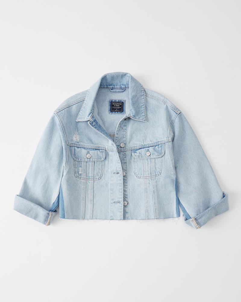 a18dcb442ec58 Womens Cropped Girlfriend Denim Jacket