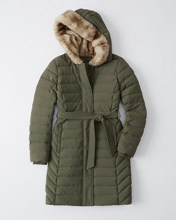 Womens Long Down Stretch Puffer | Womens Coats & Jackets