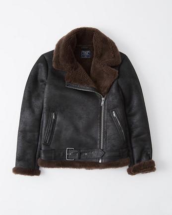 ANFFaux Shearling Moto Jacket