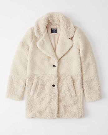 ANFMixed Fabric Teddy Coat
