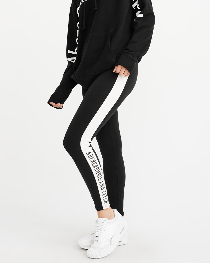 Side Stripe Fleece Legging by Abercrombie & Fitch