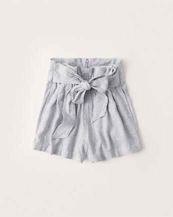 ANFTie-Waist Linen-Blend Shorts