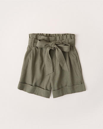 ANFLinen-Blend Belted Shorts