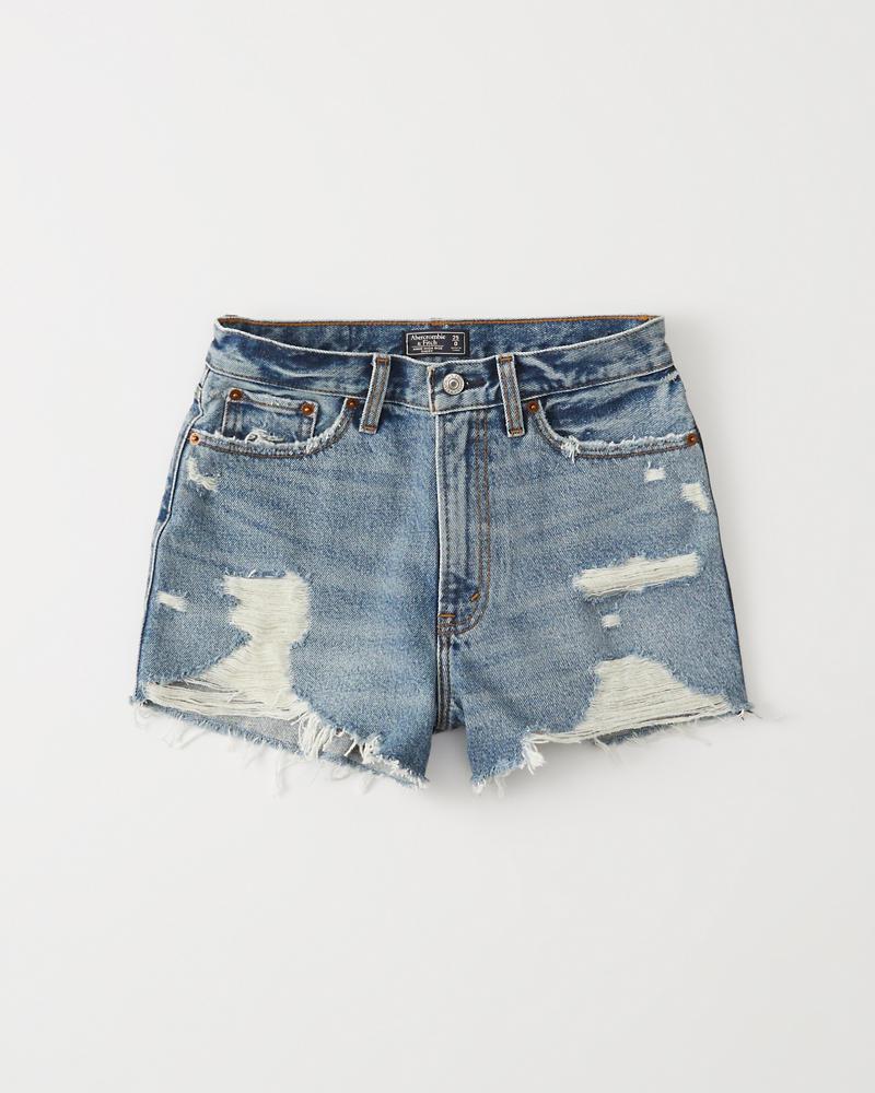 9fe8eee256 Womens High Rise Denim Shorts | Womens Bottoms | Abercrombie.com