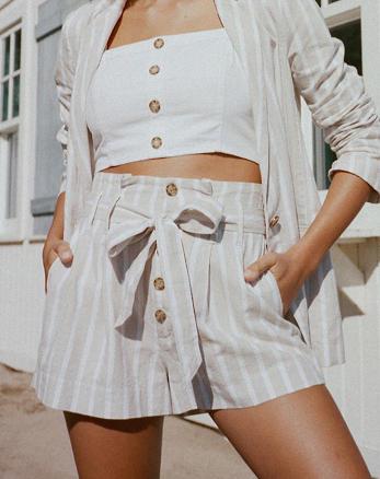 4c20f8b10ba Paperbag Waist Linen Shorts