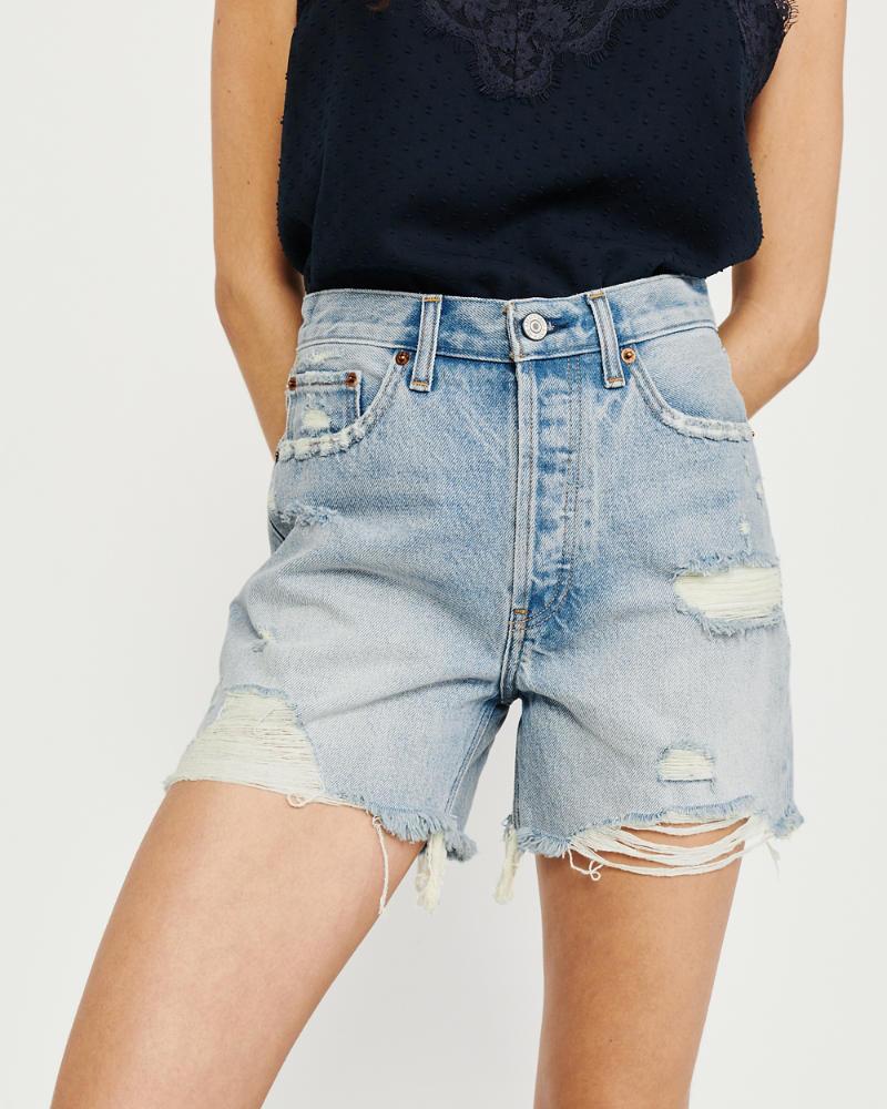 766e3418c1 Femme Short en jean taille haute mi-long | Femme Bas | Abercrombie.com