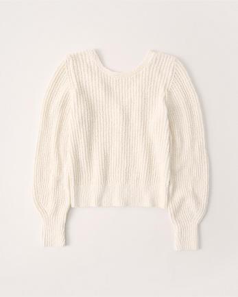 ANFButton-Back Puff Sleeve Sweater