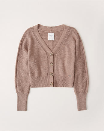 ANFV-Neck Ribbed Cardigan