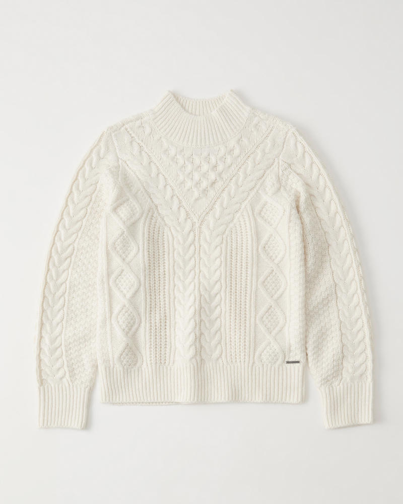 Tops Cable Neck Womens Sweater Mock 6wxIz