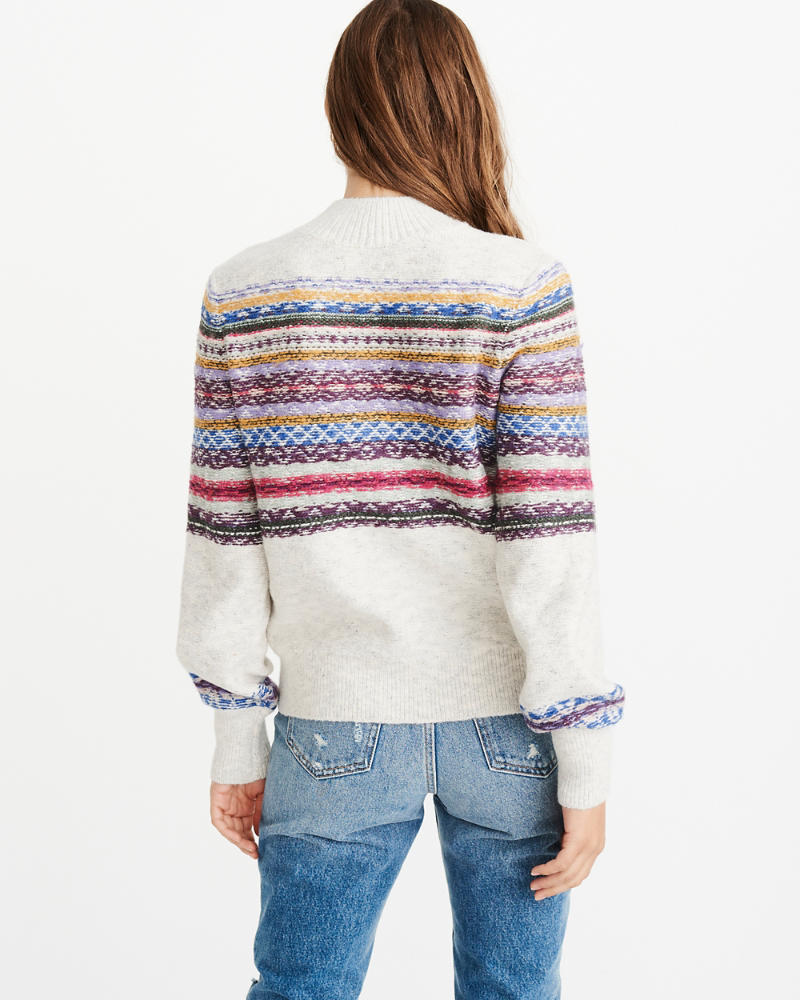 Womens Cable Mock Neck Sweater   Womens Tops   Abercrombie.com