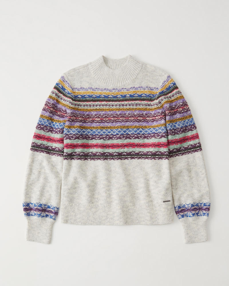 Cable Mock Neck Sweater by Abercrombie & Fitch