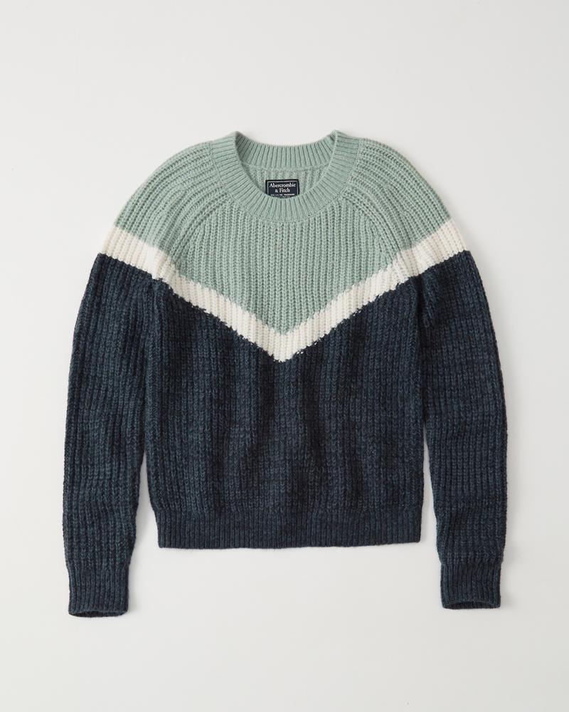 Womens Chevron Crew Sweater | Womens Tops | Abercrombie.com