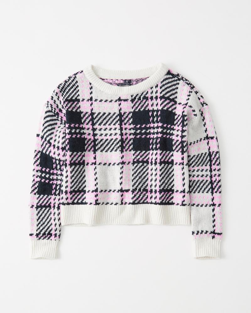 Womens Plaid Crewneck Sweater   Womens Tops   Abercrombie.com