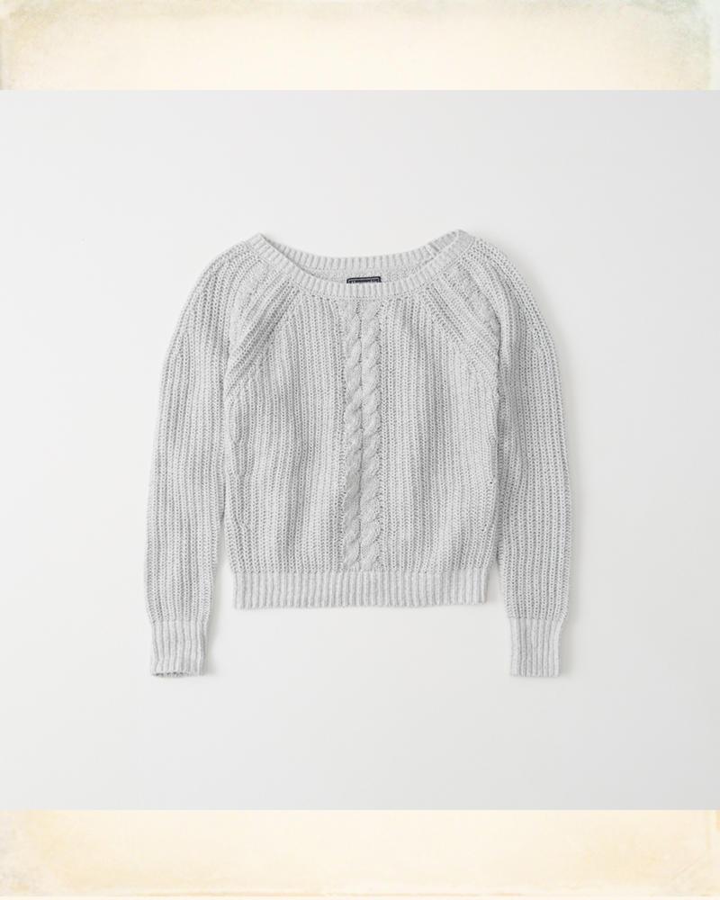 Suéter de cuello bote y punto pointelle trenzado | HollisterCo.com