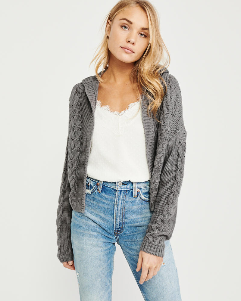 Hooded Cable Knit Cardigan by Abercrombie & Fitch