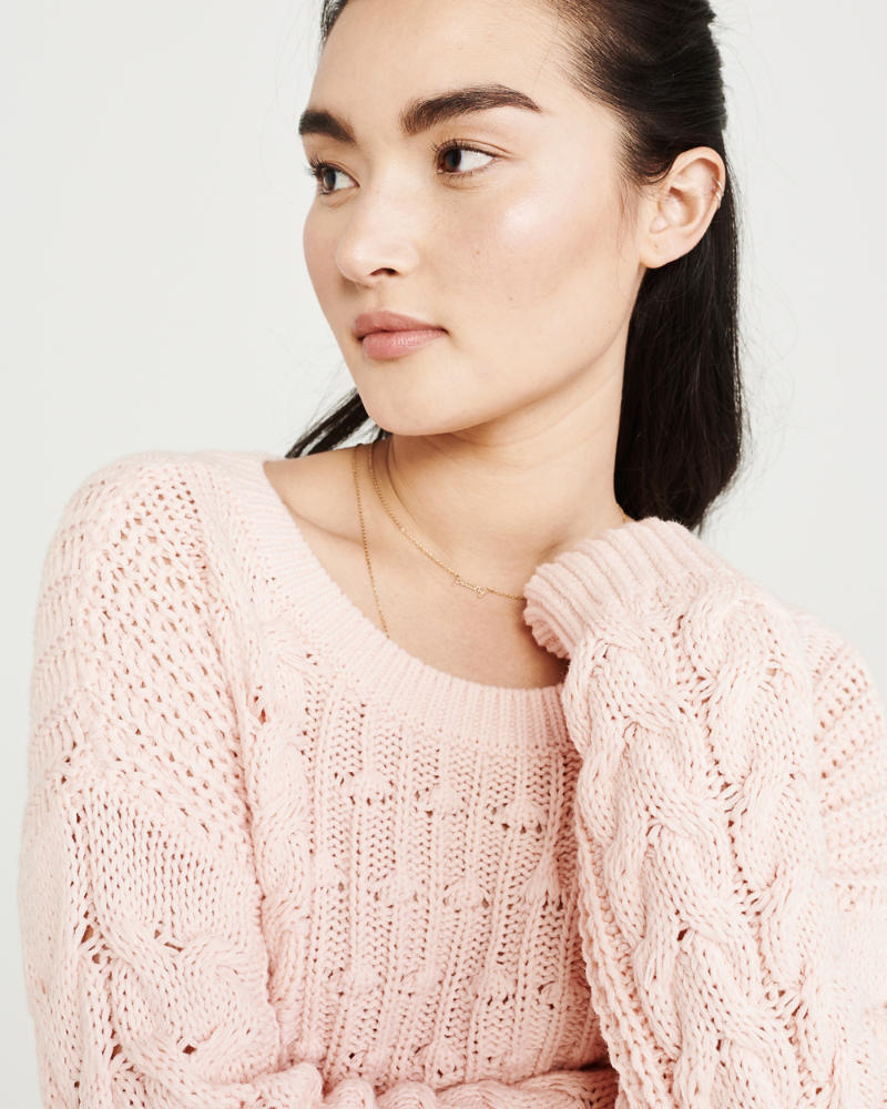 Bobble Cable Crewneck Sweater by Abercrombie & Fitch