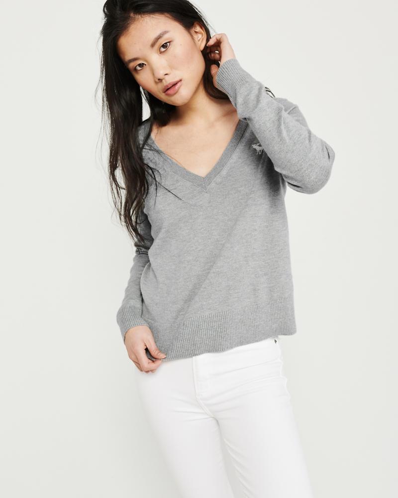 abercrombie pullover mit v ausschnit damen
