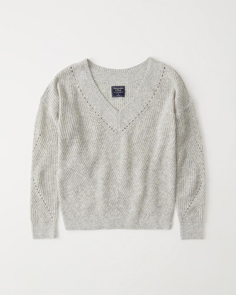 bdc014dd57553 Womens V-Neck Pointelle Sweater
