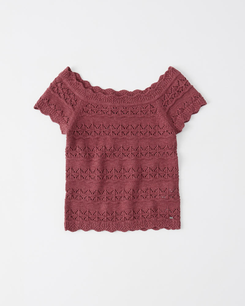 4a64ac052ca Womens Pointelle Off-The-Shoulder Top | Womens Tops | Abercrombie.com