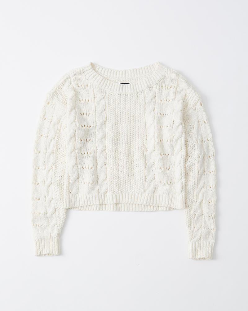 Damen Kurzer Pullover mit Zopfstrickmuster | Damen Oberteile