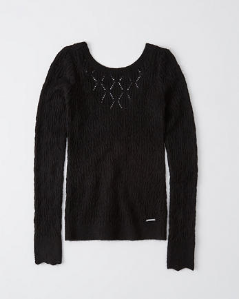 ANFPointelle Scoop-Back Sweater