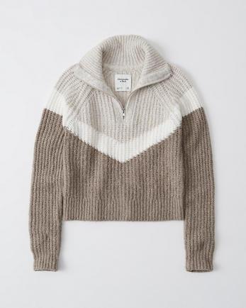 ANFHalf-Zip Pointelle Sweater