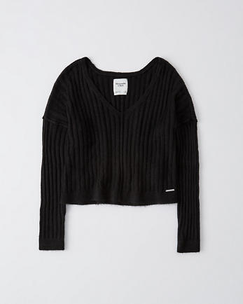ANFCropped V-Neck Sweater