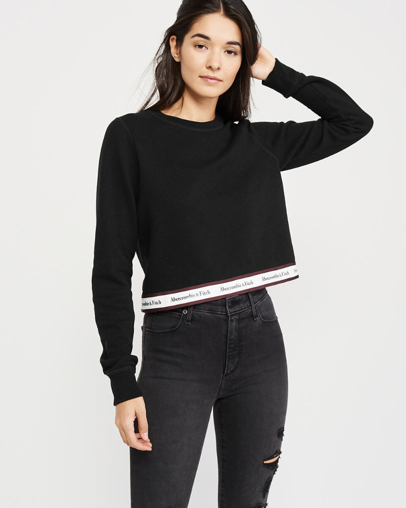 Logo Tape Crewneck Sweatshirt by Abercrombie & Fitch