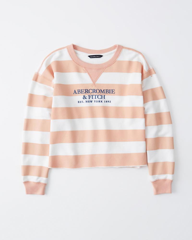 Striped Logo Sweatshirt by Abercrombie & Fitch