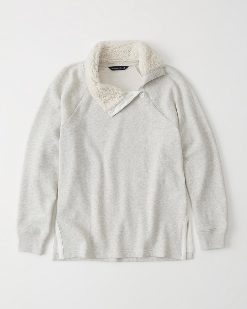 Asymmetrical Sherpa Collar Sweatshirt by Abercrombie & Fitch