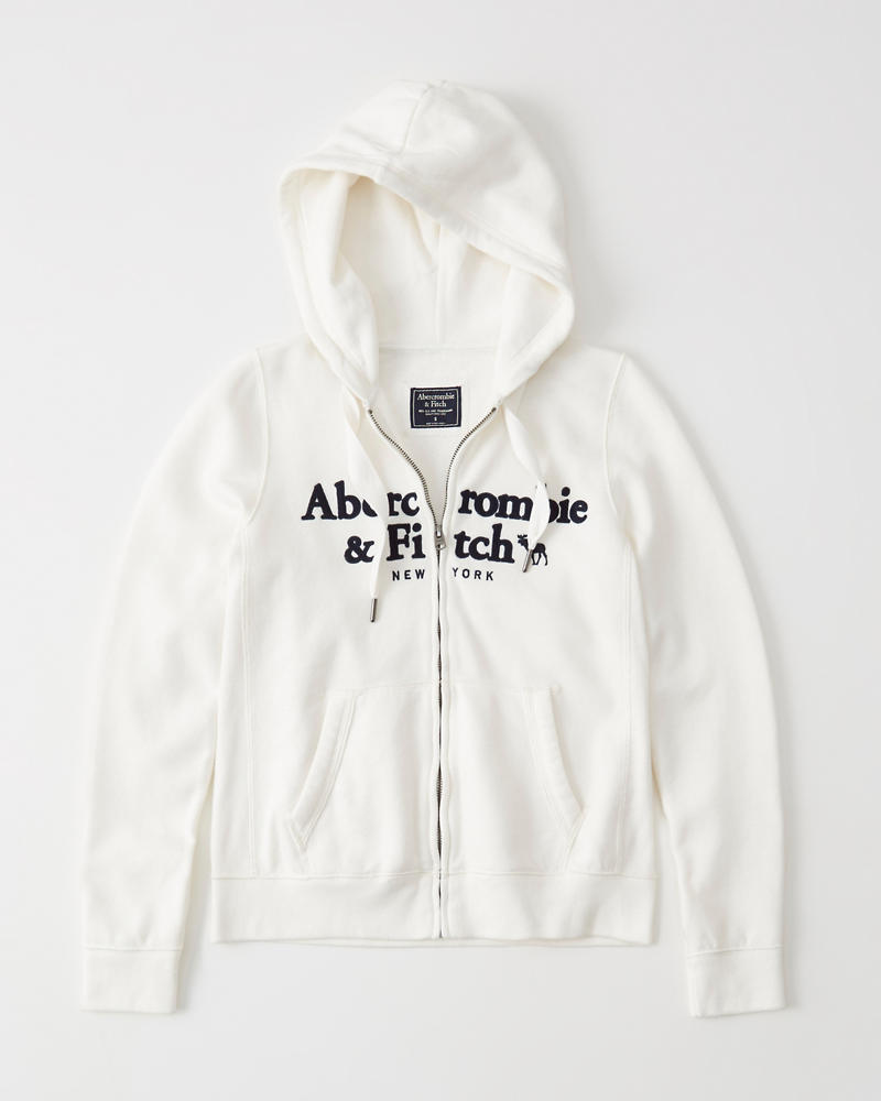 f51f472c795 Full-Zip Embroidered Logo Hoodie | Abercrombie.sg