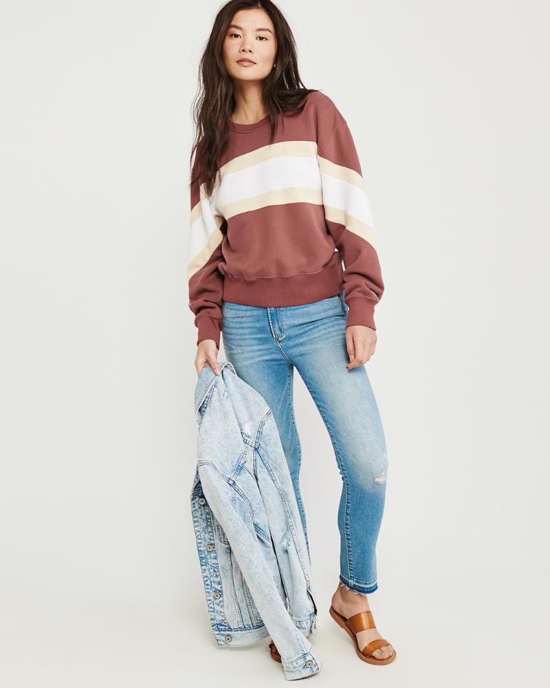 302892ae0e Womens Colorblock Crew Sweatshirt | Womens Sale | Abercrombie.com