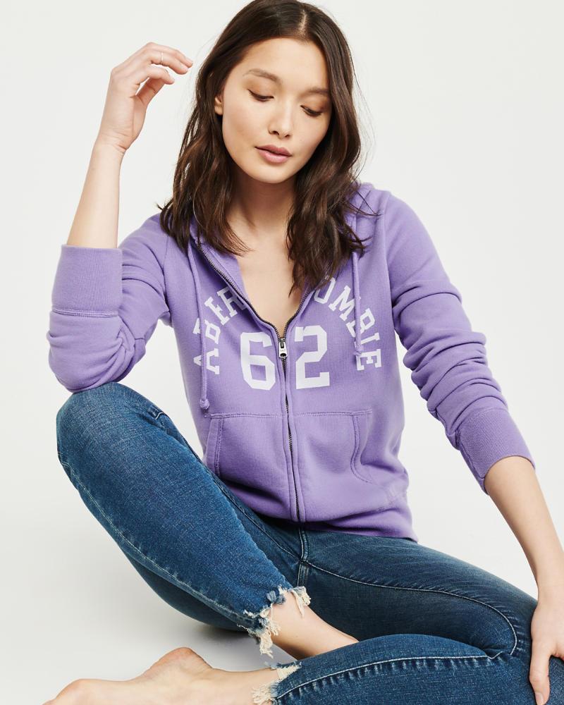 Femme Sweat à capuche zippé avec logo | Femme Tops