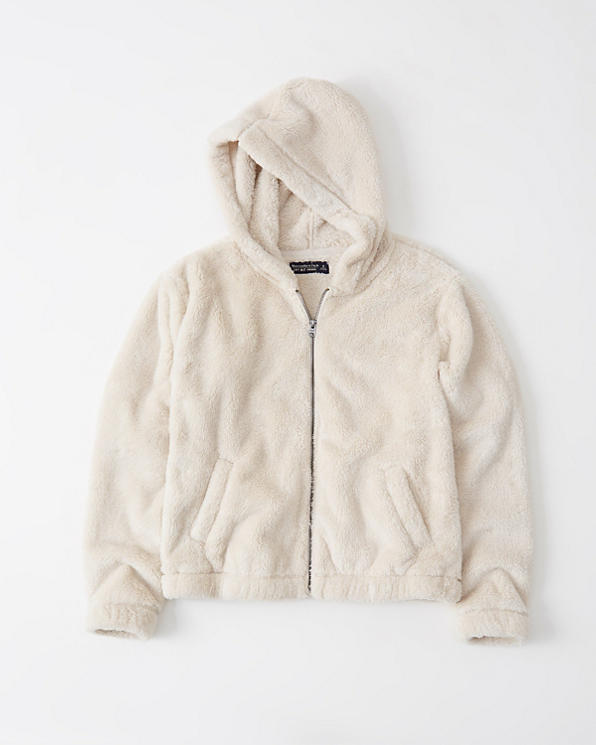 Womens Full Zip Sherpa Fleece Hoodie | Womens Jackets