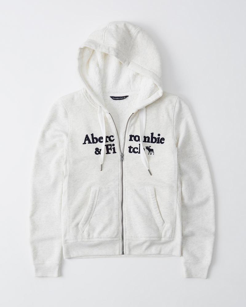 Sherpa Lined Full Zip Logo Hoodie