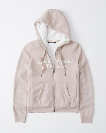 ANFSherpa-Lined Full-Zip Logo Hoodie