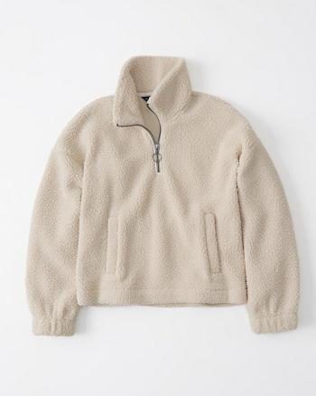 Womens Sherpa Fleece Half Zip Sweatshirt Abercrombie