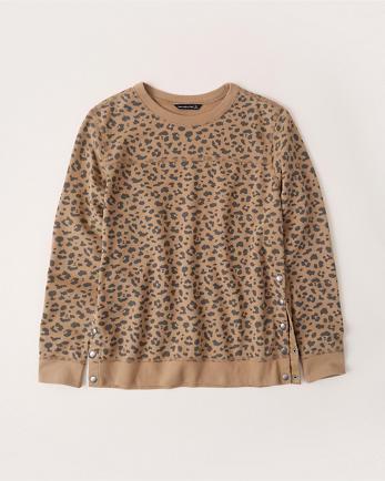 ANFSide-Snap Crewneck Sweatshirt
