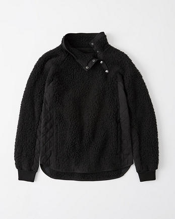 ANFAsymmetrical Snap-Up Sherpa Fleece