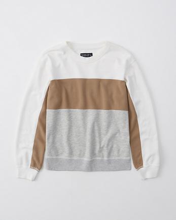 ANFLong-Sleeve Colorblock Crewneck Sweatshirt