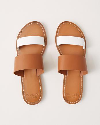 ANFDouble Strap Faux Leather Sandals