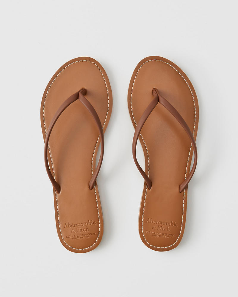 Faux Leather Flip Flips by Abercrombie & Fitch