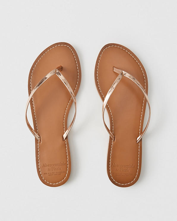 6974c8bf379b7 Womens Faux Leather Flip Flops | Womens Swimwear | Abercrombie.com