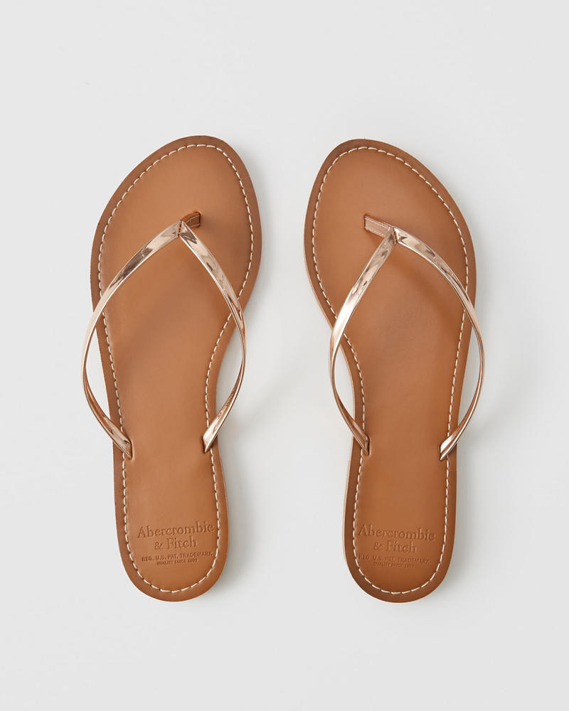 aab4a77d8 Womens Faux Leather Flip Flops