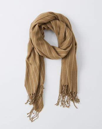 6f9e45df3 Brushed Preppy Scarf, CAMEL BROWN STRIPE