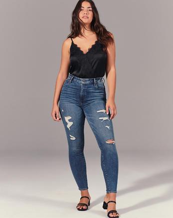 7bc1a0c0c Ripped High Rise Super Skinny Jeans, Medium Ripped Wash