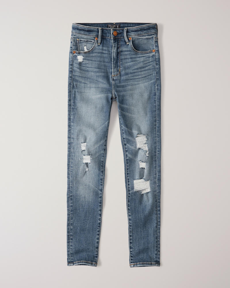 a10879a4170 Womens Ripped High Rise Super Skinny Ankle Jeans