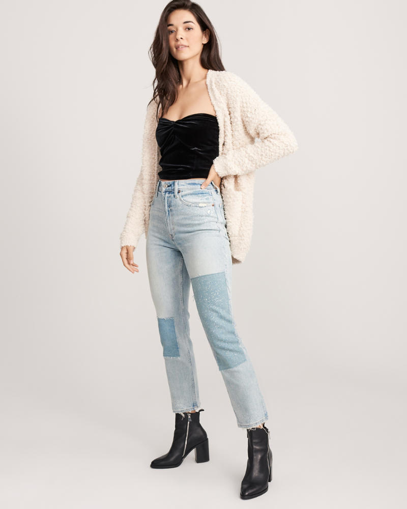Ultra High Rise Straight Knöcheljeans by Abercrombie & Fitch
